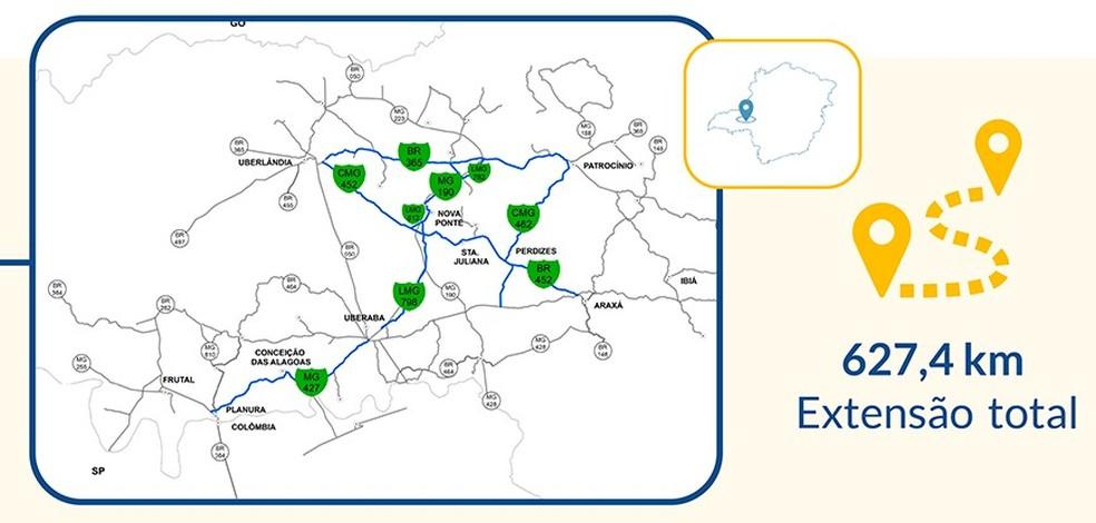 Mapa do lote de rodovias do Triângulo Mineiro que estão no Programa de Concessões Rodoviárias — Foto: Seinfra/ Divulgação
