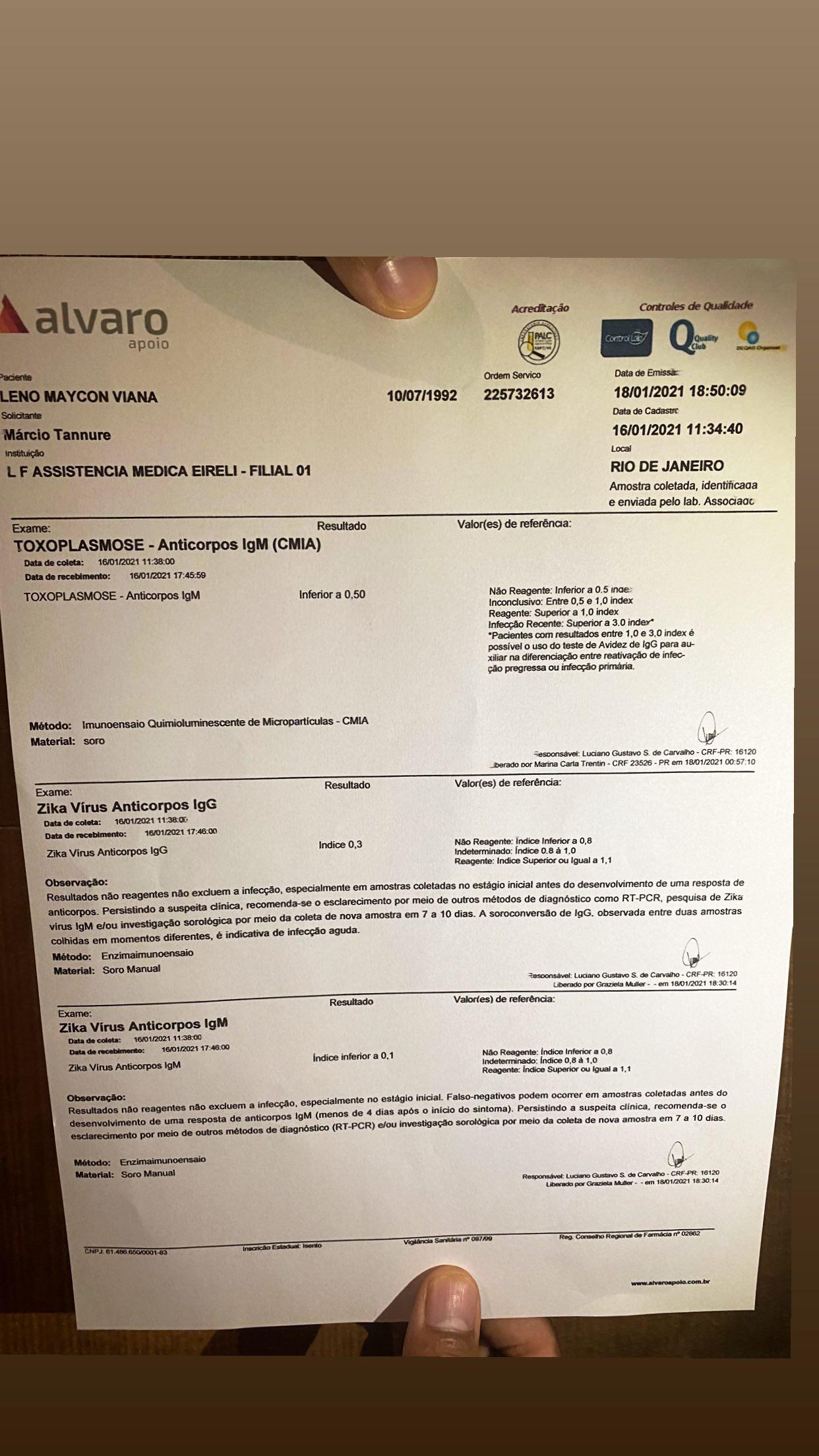 Nego do Borel faz exames para rebater que não transmitiu HPV a Duda Reis (Foto: Reprodução/Instagram)