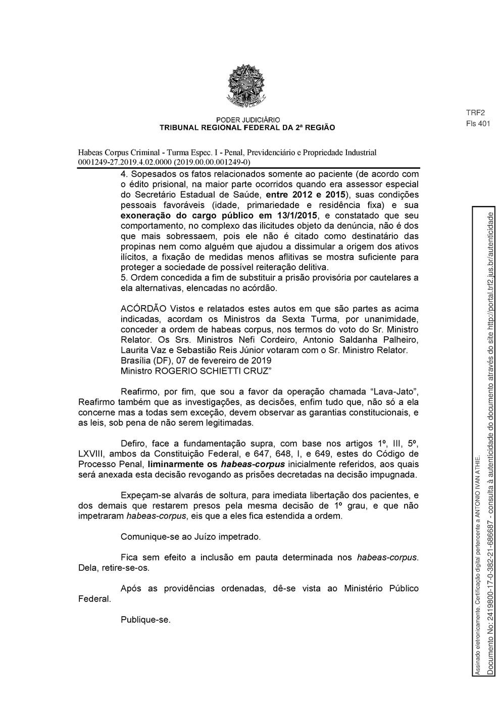 Decisão TRF-2 pg. 20 — Foto: Reprodução