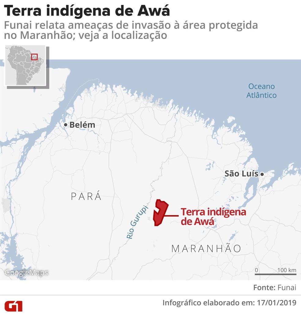 Área indígena Awá fica próxima a divisa do Maranhão com o Pará — Foto: Arte/G1