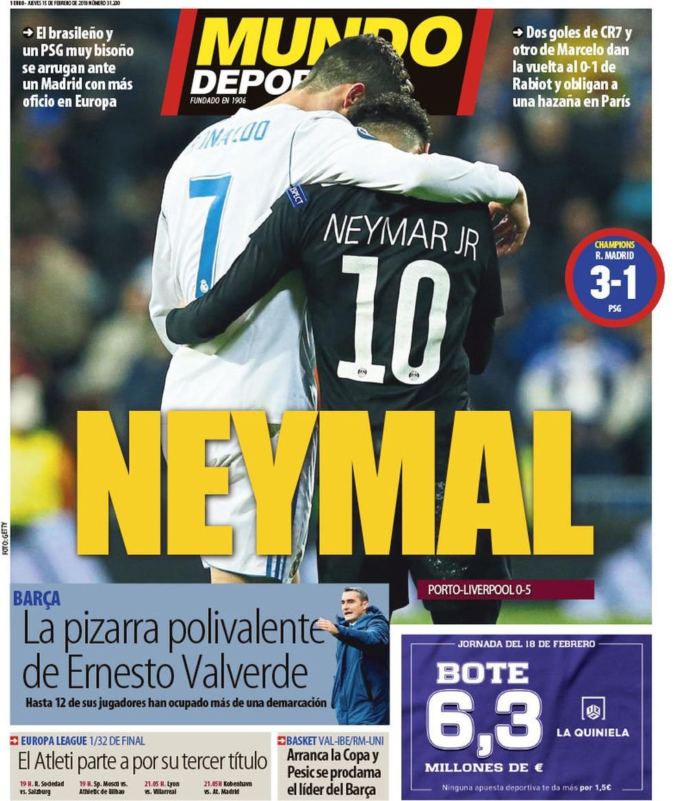 """Capa do """"Mundo Deportivo"""". Sai Neymar, entra """"Neymal"""" (Foto: Reprodução)"""