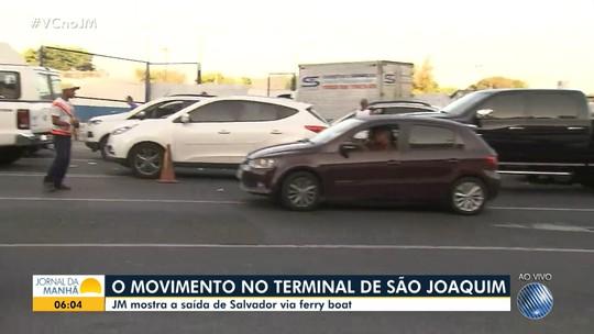 Confira o movimento Terminal de São Joaquim em Salvador para embarcar de carro no ferry