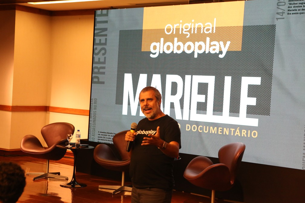 Erick Brêtas, diretor de produtos e serviços digitais da Globo, em evento de lançamento da série 'Marielle - O Documentário' — Foto: Globoplay/Reginaldo Teixeira