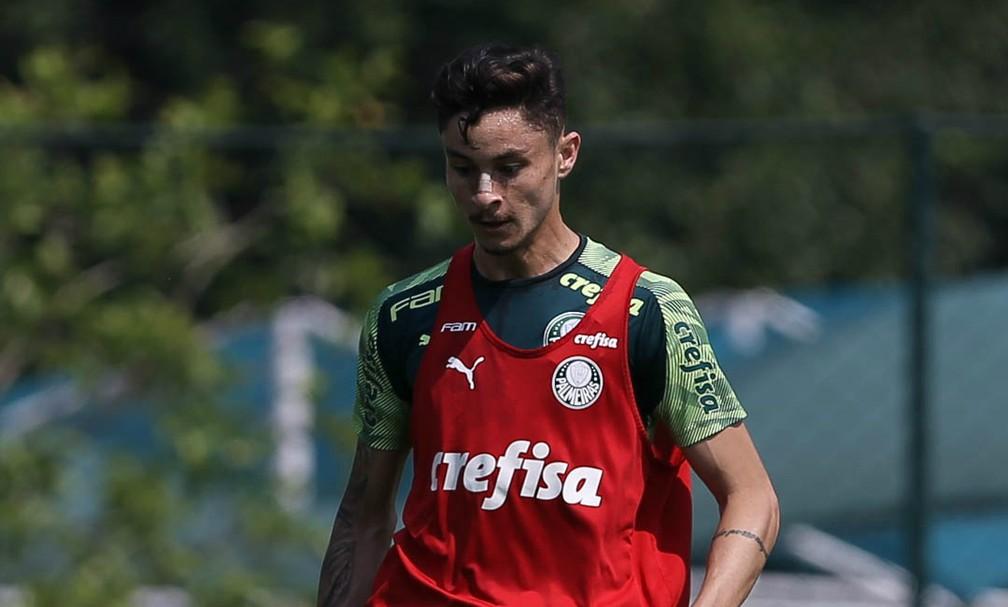 Diogo Barbosa durante treinamento nesta terça-feira, na Academia de Futebol do Palmeiras — Foto: Cesar Greco/Ag. Palmeiras