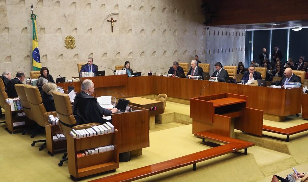 O ministros do STF, no plenário do tribunal, durante o julgamento sobre a criminalização da homofobia — Foto: Nelson Jr./SCO/STF