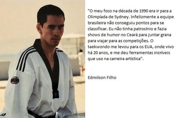 Protagonista da série 'Cine Holliúdy', Edmilson Filho é mestre 5º grau em Taekwondo e tricampeão brasileiro no esporte, tendo passado pela seleção nacional entre 1999 e 2000 (Foto: Arquivo pessoal)