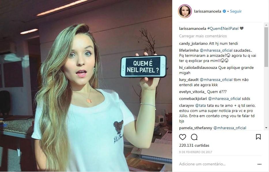 A atriz Larissa Manoela na campanha #quemeneilpatel (Foto: Reprodução/Instagram)