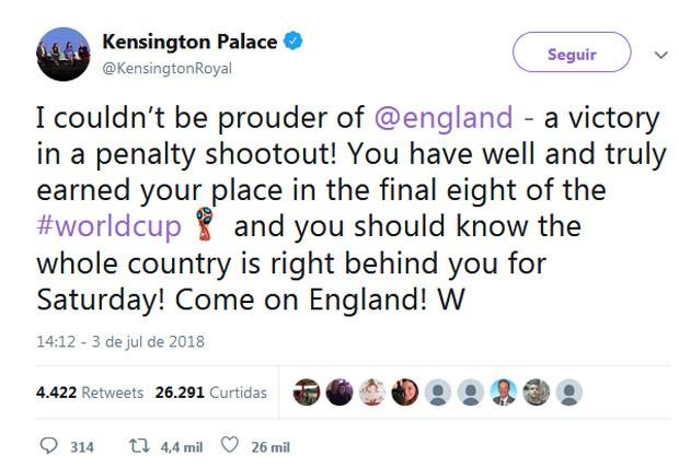 Príncipe William celebra vitória da Inglaterra na Copa  (Foto: Reprodução)