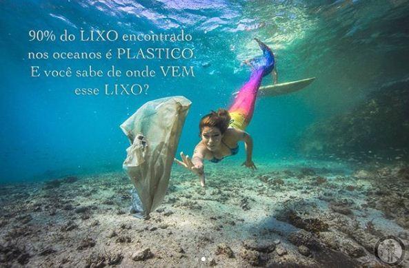 Isabella Santoni posa com o namorado, o surfista Caio Vaz, para campanha sobre conscientização de lixo (Foto: Reprodução Instagram)