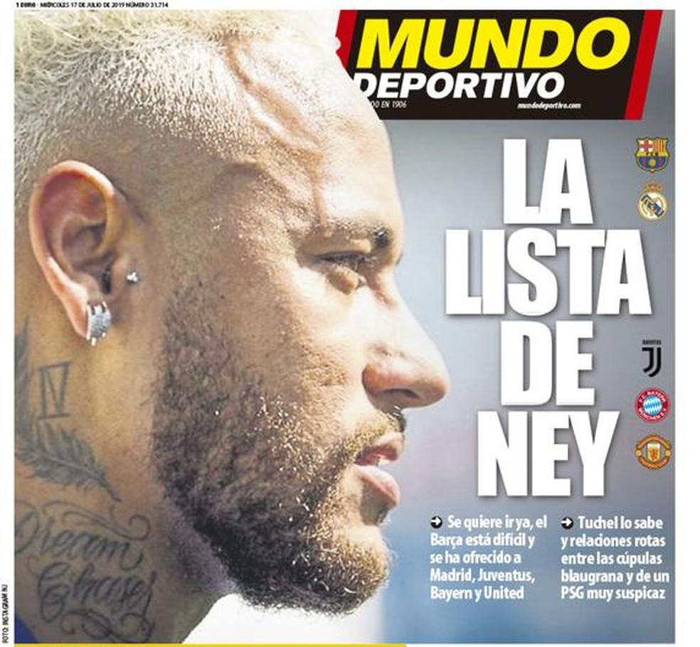 """""""Mundo Deportivo"""" traz """"a lista de Ney"""" — Foto: Reprodução/Mundo Deportivo"""