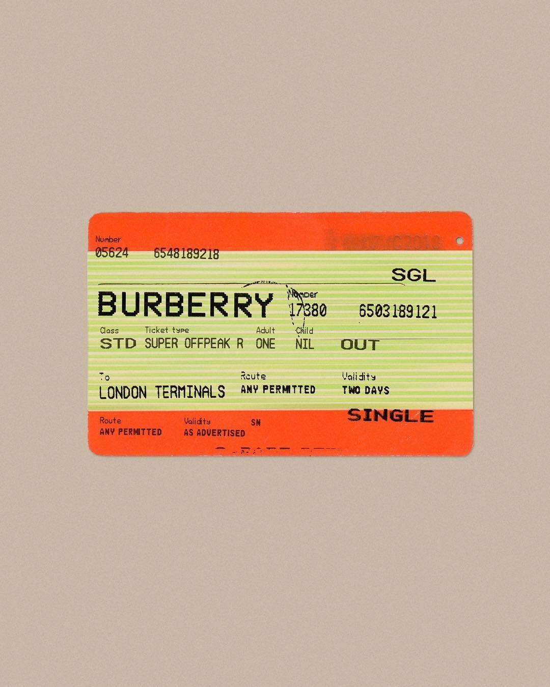 """O """"bilhete"""" com o qual a Burberry anunciou sua chegada a Londres (Foto: Reprodução/Instagram)"""
