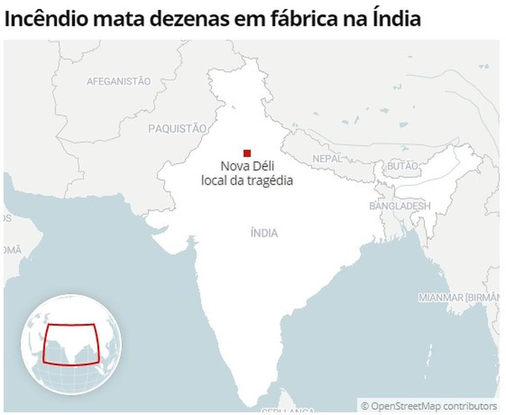 Mapa mostra localização de Nova Déli — Foto: G1