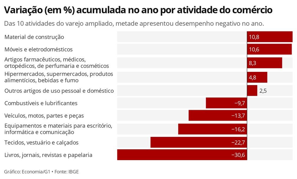 Metade das 10 atividades do comércio ampliado fecharam 2020 no campo negativo, aponta IBGE — Foto: Economia/G1
