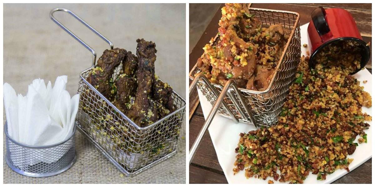 Bar da Gema: Ciscadinha: drumets de frango temperados com mix de ervas, mergulhados na farofa de canjiquinha com bacon