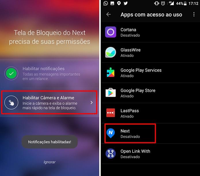 Next Lock Screen também precisa de acesso ao uso no Android (Foto: Reprodução/Elson de Souza)
