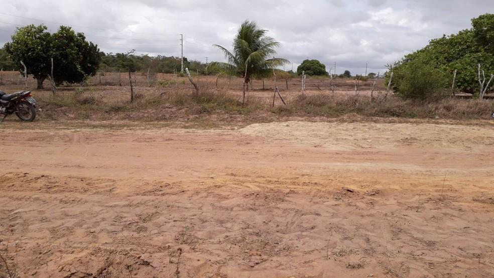 Corpos foram encontrados em estrada de terra na comunidade do Guajiru, em São Gonçalo do Amarante — Foto: Klênyo Galvão/Inter TV Cabugi