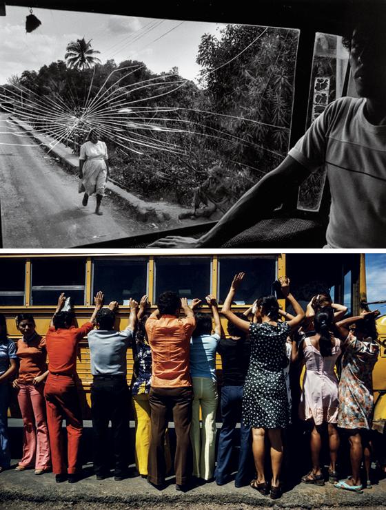 No alto, Estrada para Aguilares; El Salvador,1983. Abaixo, Revista de todas as pessoas viajando de carro, caminhão, ônibus ou a pé; Cidade Sandino, Nicarágua,1978 (Foto: © Susan Meiselas/Magnum Photos)