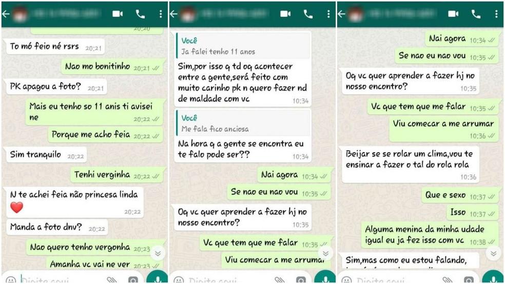 Mãe procurou a polícia com as mensagens enviadas pelo suspeito pensando que falava com a filha dela, de 11 anos (Foto: Reprodução)