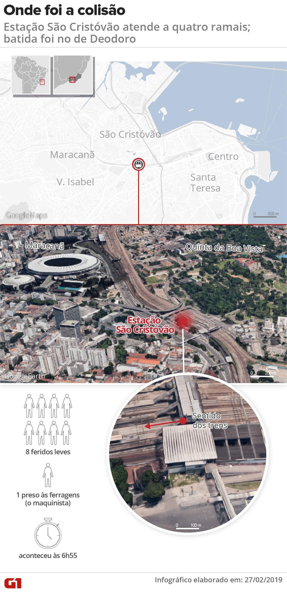 Mapa localiza onde foi o acidente da SuperVia — Foto: Infografia: Wagner Magalhães/G1