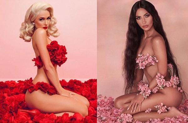 Os ensaios das socialites Paris Hilton e Kim Kardashian em meio a flores (Foto: Instagram)
