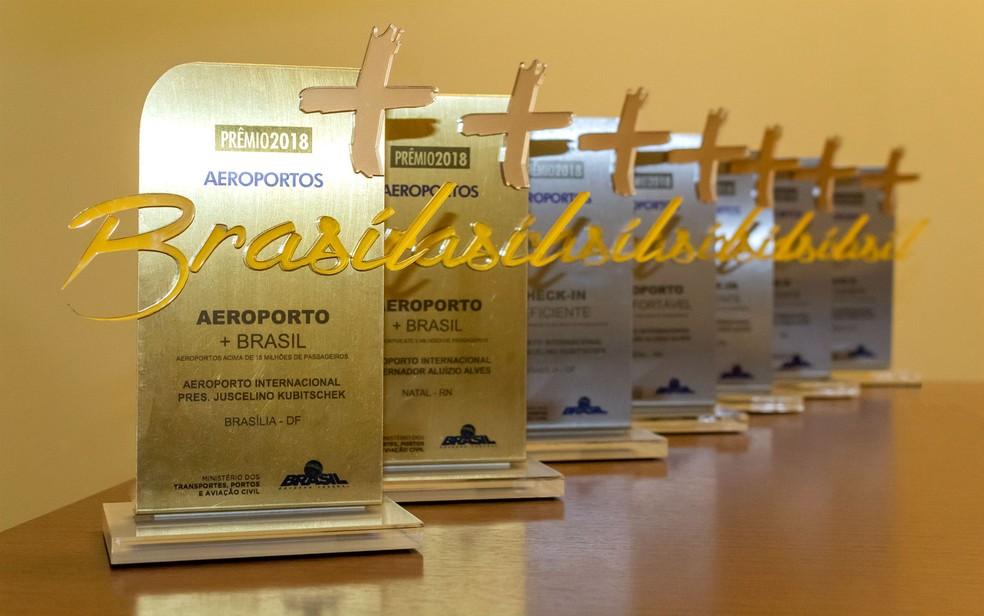 """Prêmio """"Aeroporto + Brasil 2018"""", concedido pelo Ministério dos Transportes aos melhores terminais aéreos do país (Foto: Inframérica/Divulgação)"""