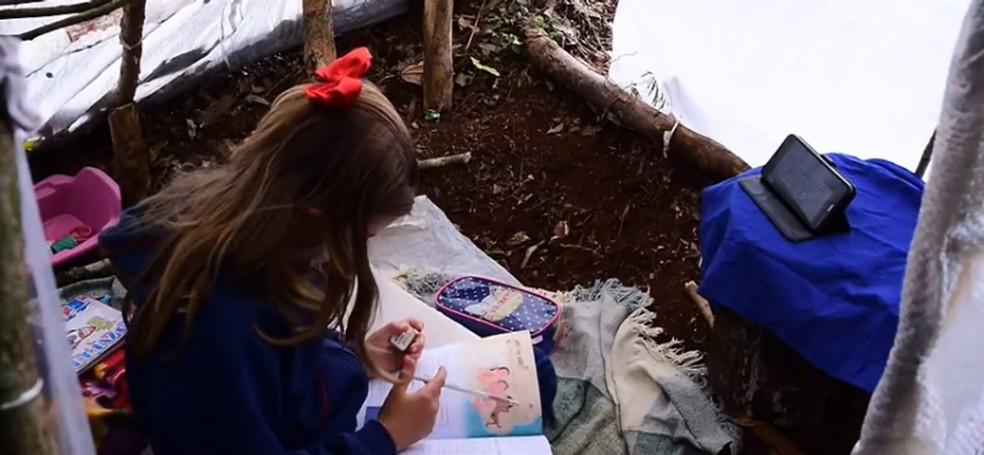 Isabel estuda em uma barraca montada em uma propriedade rural — Foto: Reprodução/RPC