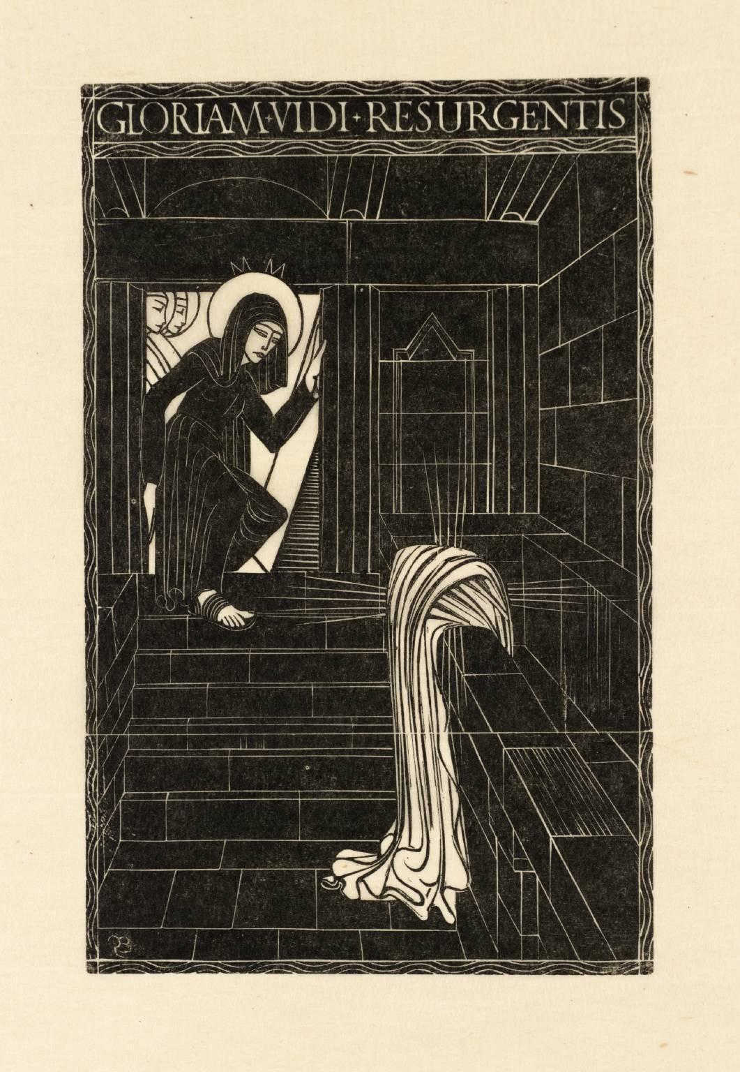 A ressurreição, xilogravura de 1917 do artista Eric Gill. Ela retrata o momento em que Maria Madalea descobre que a tumba de Jesus está vazia (Foto: Reprodução)
