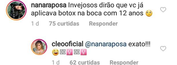 Cleo responde comentários no Instagram (Foto: Reprodução)