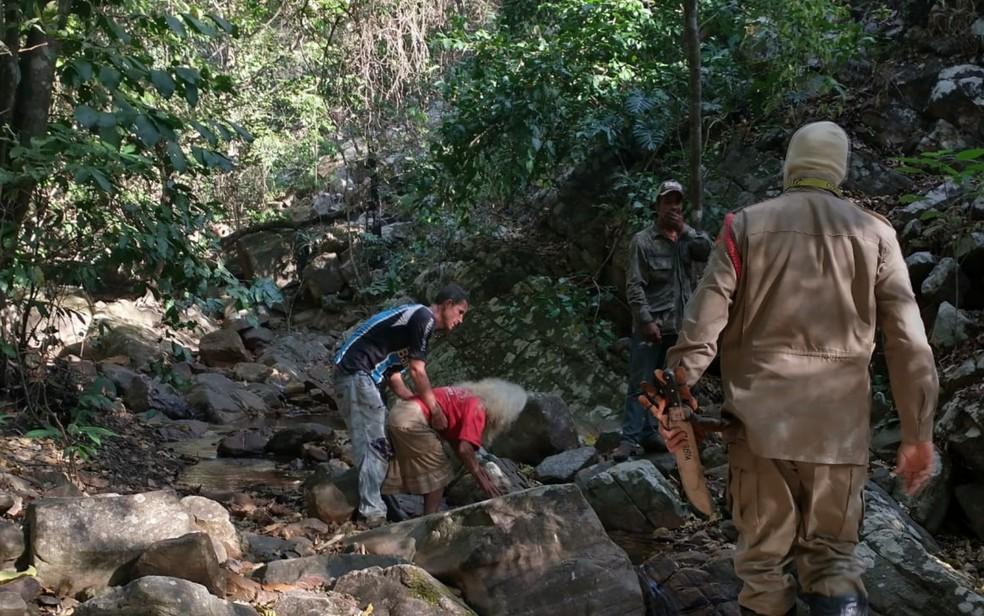 Idosa foi encontrada por bombeiros e familiares após 28 horas desaparecida em mata de Formosa Goiás — Foto: Reprodução/Corpo de Bombeiros