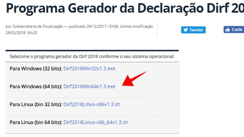 Baixe o programa da DIRF 2018 adequado para o seu computador (Foto: Reprodução/Paulo Alves)
