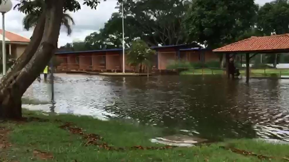 Rio Tietê transborda e invade avenida de Barra Bonita — Foto: Central da Notícia/Divulgação