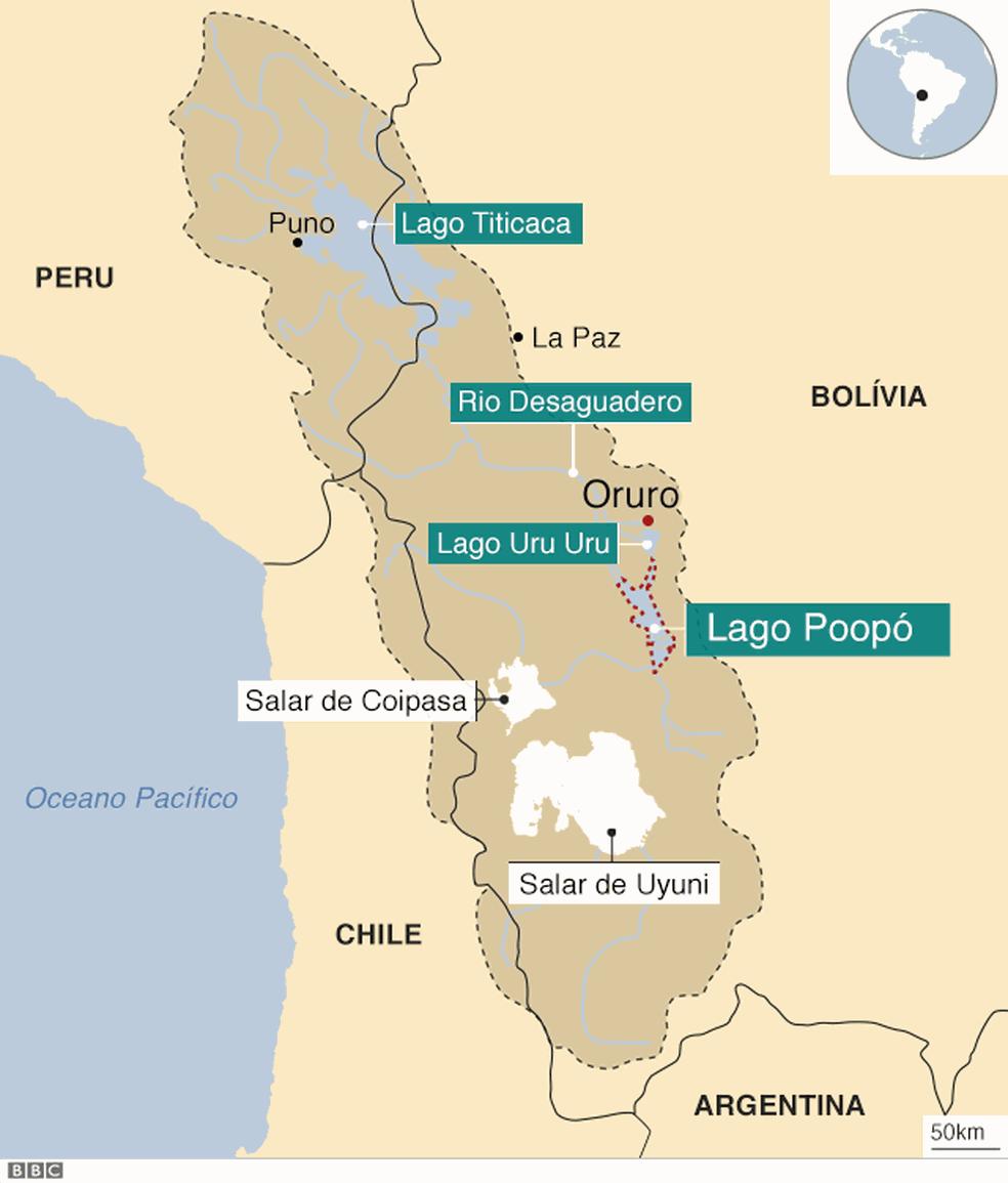 O sistema TDPS, formado pelo lago Titicaca, o rio Desaguadero, o lago Poopó e o salar de Coipasa (Foto: BBC)