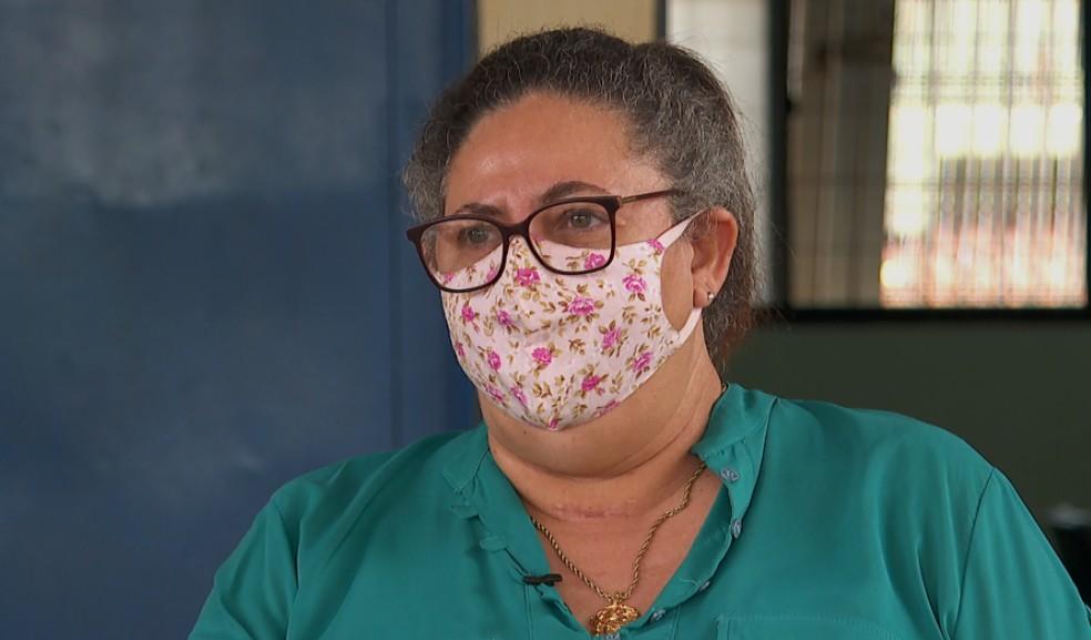 Cleia Regina dos Santos passou 21 dias internadas com Covid-19 em Barretos (SP)  — Foto: Reprodução/EPTV