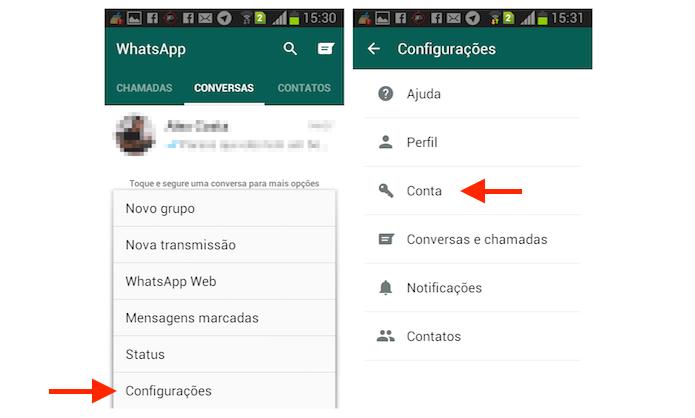 Acessando as configurações para conta do WhatsApp para Android (Foto: Reprodução/Marvin Costa)