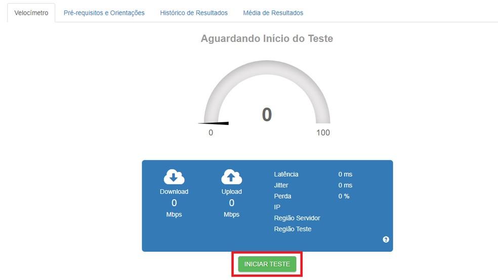 Faça o teste para obter os indicadores de qualidade da sua internet — Foto: Reprodução/Brasil Banda Larga
