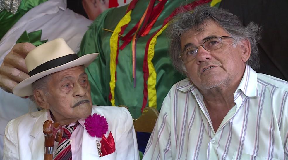 Mestre Jaime e Jaime Filho. — Foto: Reprodução/TV Grande Rio