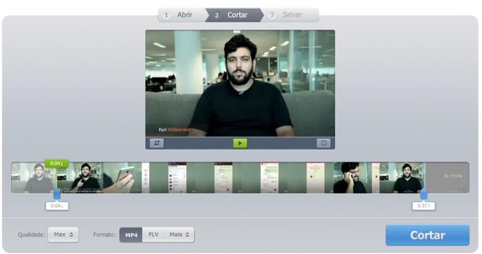 Tela para edição de vídeos do serviço online Video Cutter — Foto: Reprodução/Marvin Costa