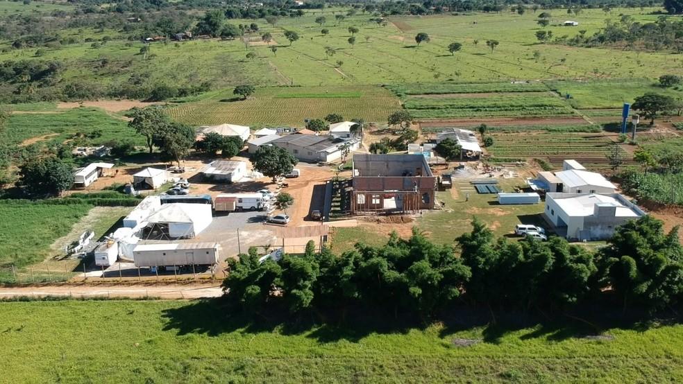 Vista aérea da igreja de onde jovem foi resgatada — Foto: Igreja Adventista Remanescente de Laodiceia/Divulgação