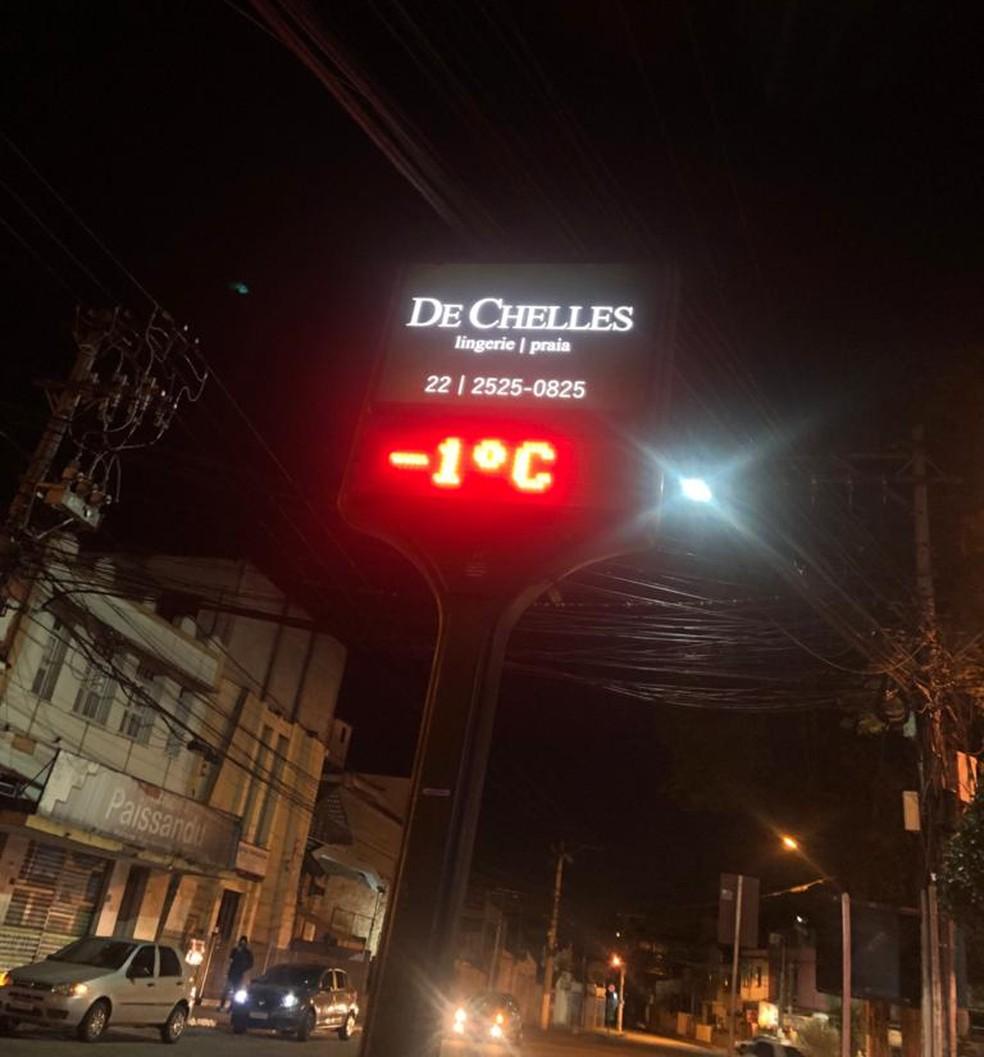 Termômetro no centro de Nova Friburgo, RJ, marcou -1ºC na manhã desta sexta (30) — Foto: Adriano de Almeida Nunes