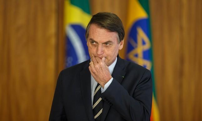 O presidente Jair Bolsonaro em apresentação de cartas credenciais no Planalto