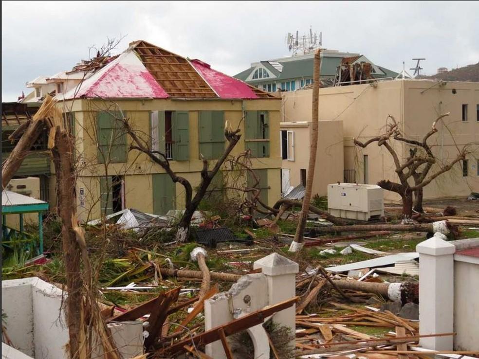 Ilhas Virgens Britânicas ficaram devastadas após furacão (Foto: Luiz Fernando Silva/Arquivo Pessoal)