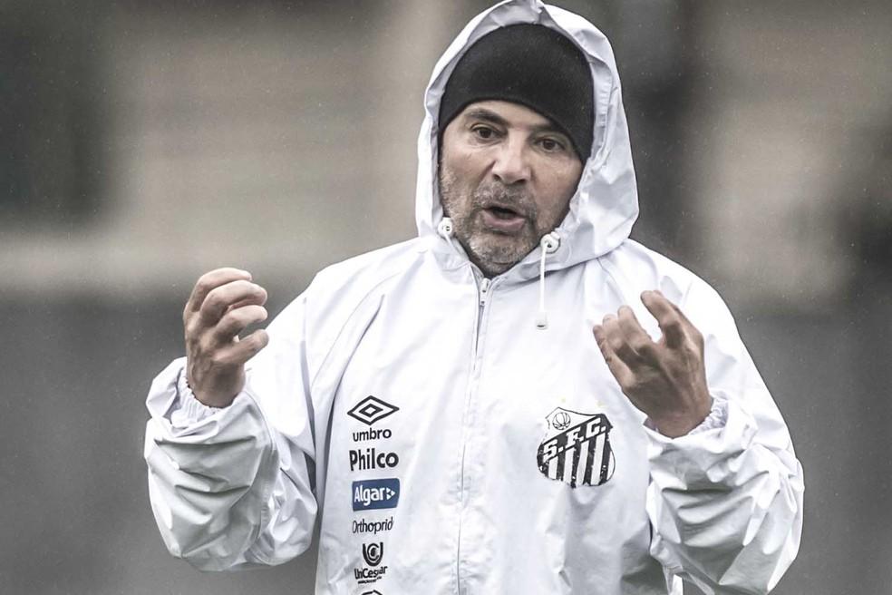 Jorge Sampaoli tem três dias para preparar o Santos que enfrenta Flamengo — Foto: Ivan Storti/Santos FC