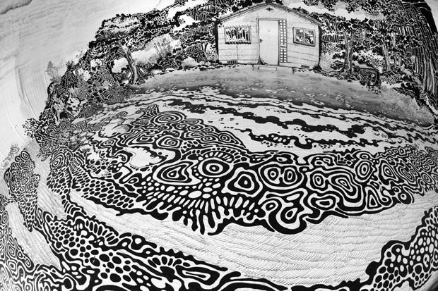 Artista pintou uma paisagem em preto e branco usando apenas canetas (Foto: Divulgação)