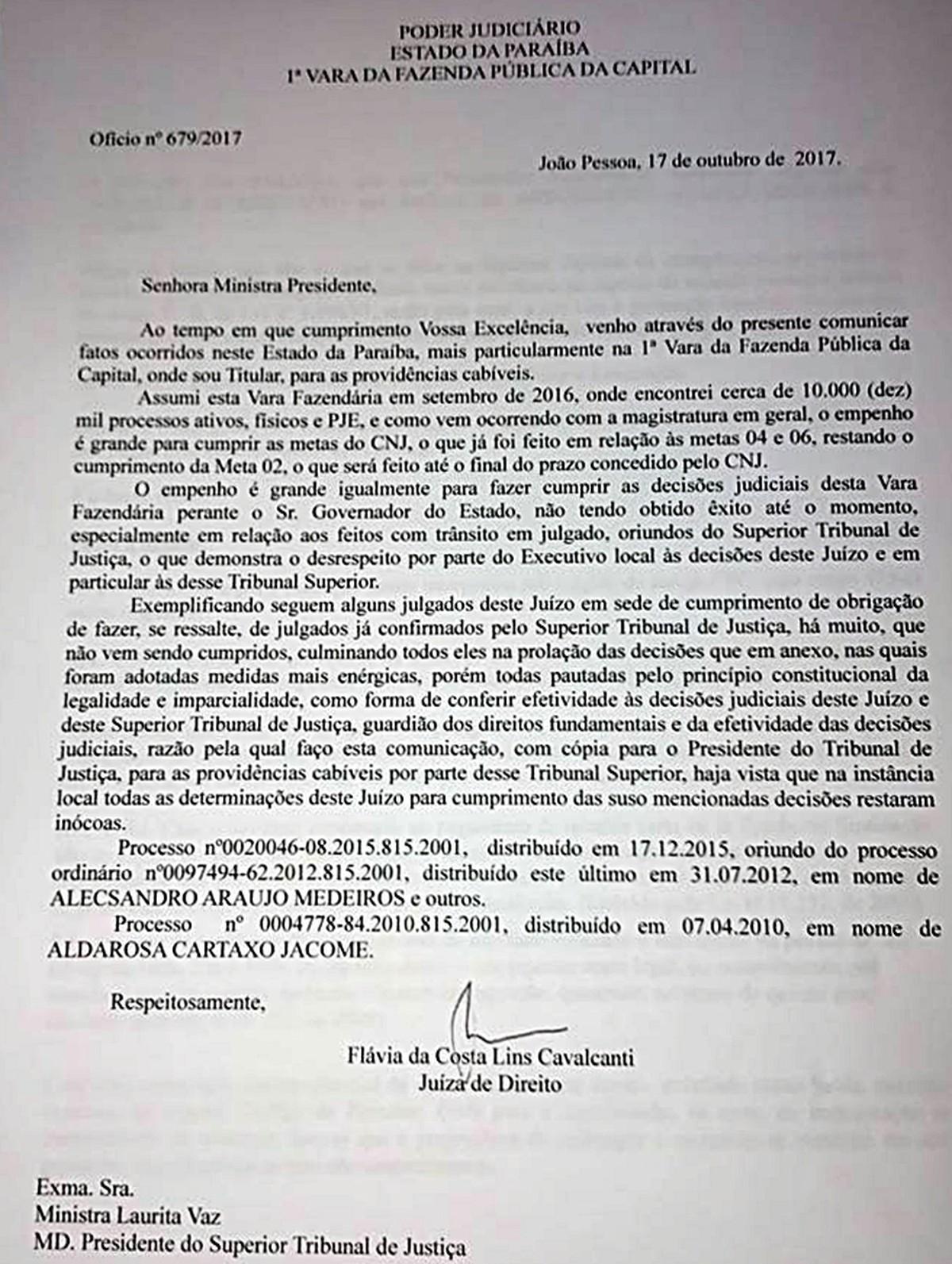 Juíza relata ao STJ desrespeito do governador da PB a decisões judiciais