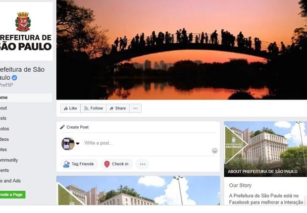 Perfil de Facebook da Prefeitura de São Paulo (Foto: Reprodução)
