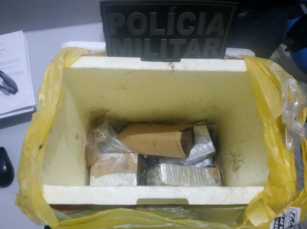 Droga estava escondida em uma caixa de isopor no bagageiro do ônibus. — Foto: Divulgação/Polícia Militar
