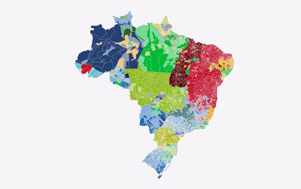 Mapa mostra votação para governador nas cidades — Foto: Arte G1