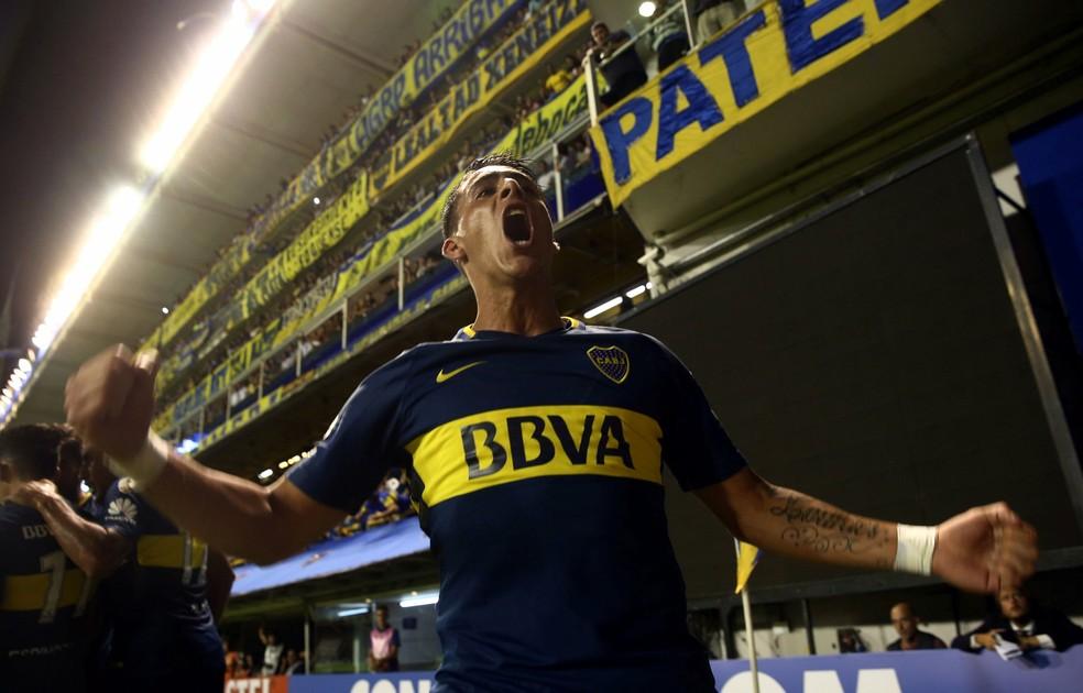 Pavón comemora gol pelo Boca na Libertadores deste ano (Foto: REUTERS/Marcos Brindicci)