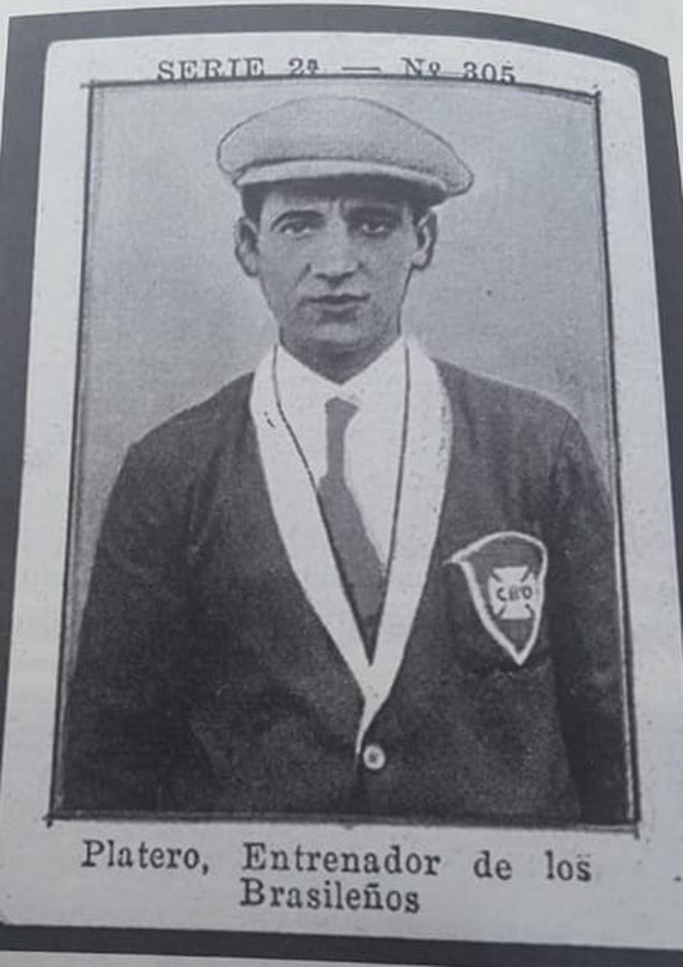 Ramon Platero, em card argentino no Campeonato Sul-Americano de 1925, em que comandou a seleção brasileira — Foto: Reprodução