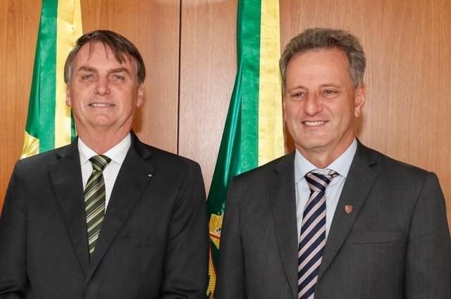 Jair Bolsonaro e o presidente do Flamengo, Rodolfo Landim